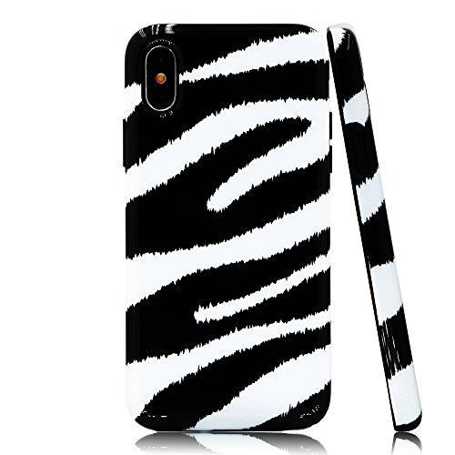(Lartin Chic Zebra Print Soft Flexible Jellybean Gel TPU Case for iPhone XS & iPhone X )