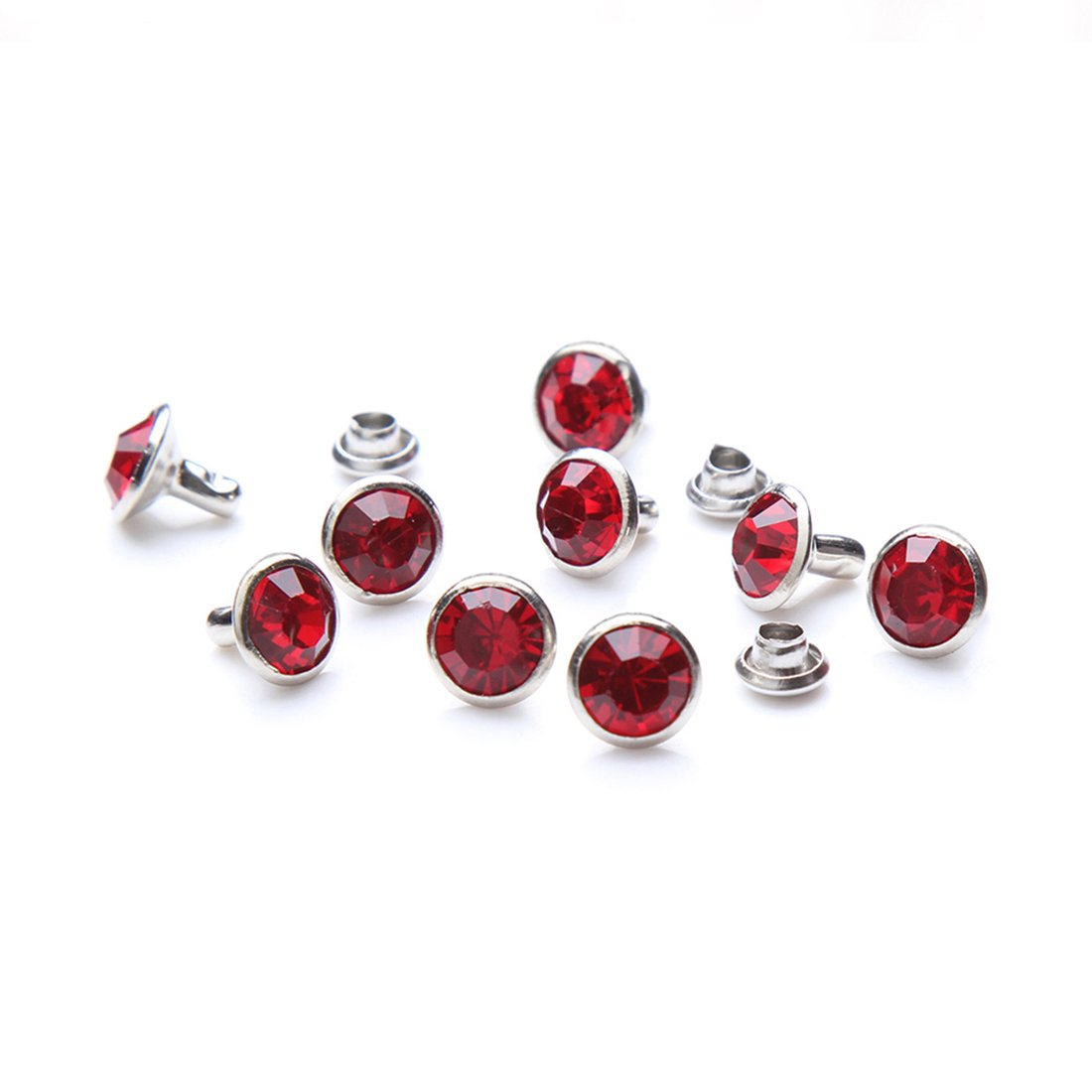 100 Sets Cz Colorful Crystal Rapid Rivets Silver Color Spots Studs Double Cap for DIY Leather-Craft (Hot Pink, 6MM) DasGarden A-RVTS1001