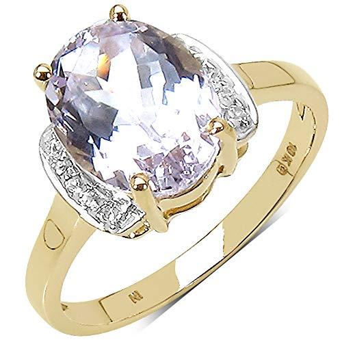 Bonyak Jewelry Genuine Round Cubic Zirconia and Kunzite Ring in 10k Yellow Gold - Size 7.00