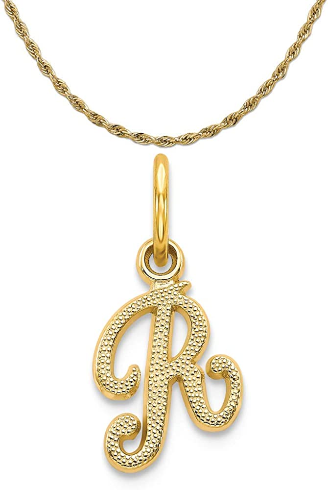 Mireval Sterling Silver Small Script Initial M Charm on a Sterling Silver Carded Box Chain Necklace 18