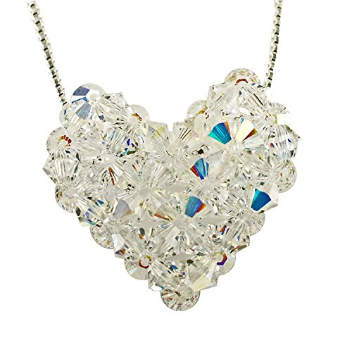 Sterling Silver and Swarovski Crystal Woven Puffy Heart Necklace Swarovski Crystal Puffy Heart Pendant