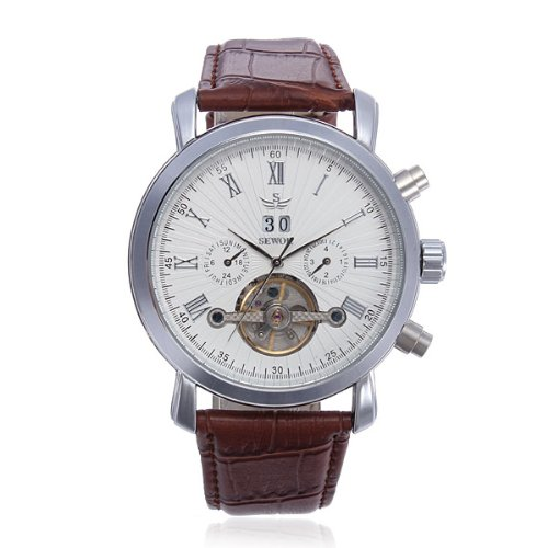 Luxury Watches For Men Multifunction Leather Automatic Mechanical Men Wrist Watch