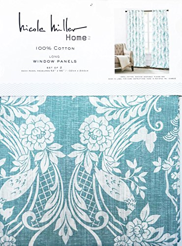 Nicole Miller Pair Of Window Curtains Panels Drapes Padoga Floral Birds  Pattern In White On Blue / Green 52 Inches By 96 Inches