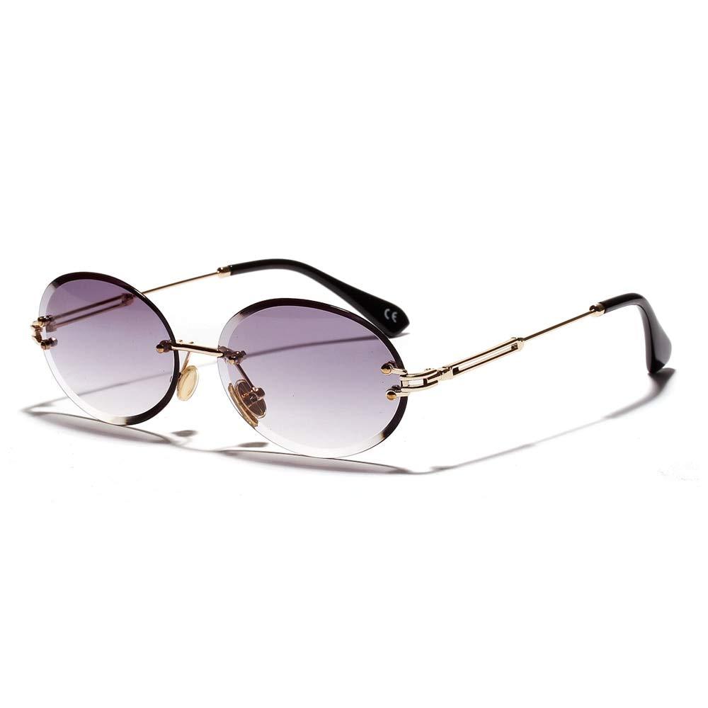sin Marco,///Gris Claro Lentes de Sol con Montura para Mujeres AAMOUSE Gafas de Sol Gafas de Sol Retro ovaladas para Mujer