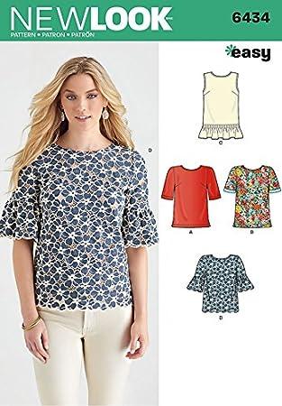 New Look Damen Easy Schnittmuster 6434 Einfache Tops in 4 Styles + ...