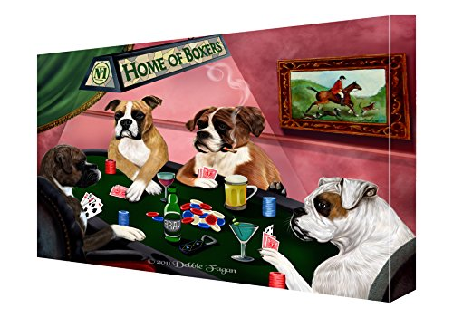 House of Boxers Dogs Playing Poker Canvas 11 x 14 (Poker Boxers)
