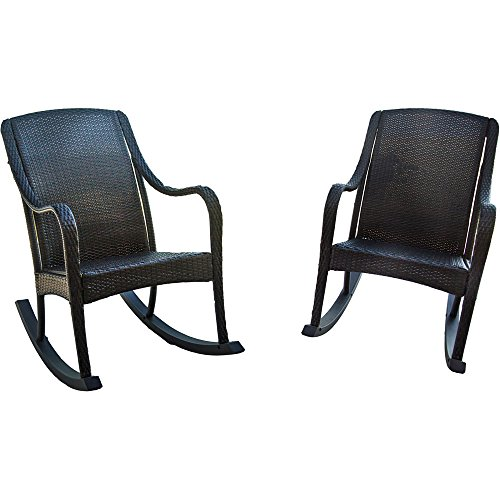 Hanover Orleans 2-Piece Wicker Rocking Chair Set Brown ORLEANS2PCRKR