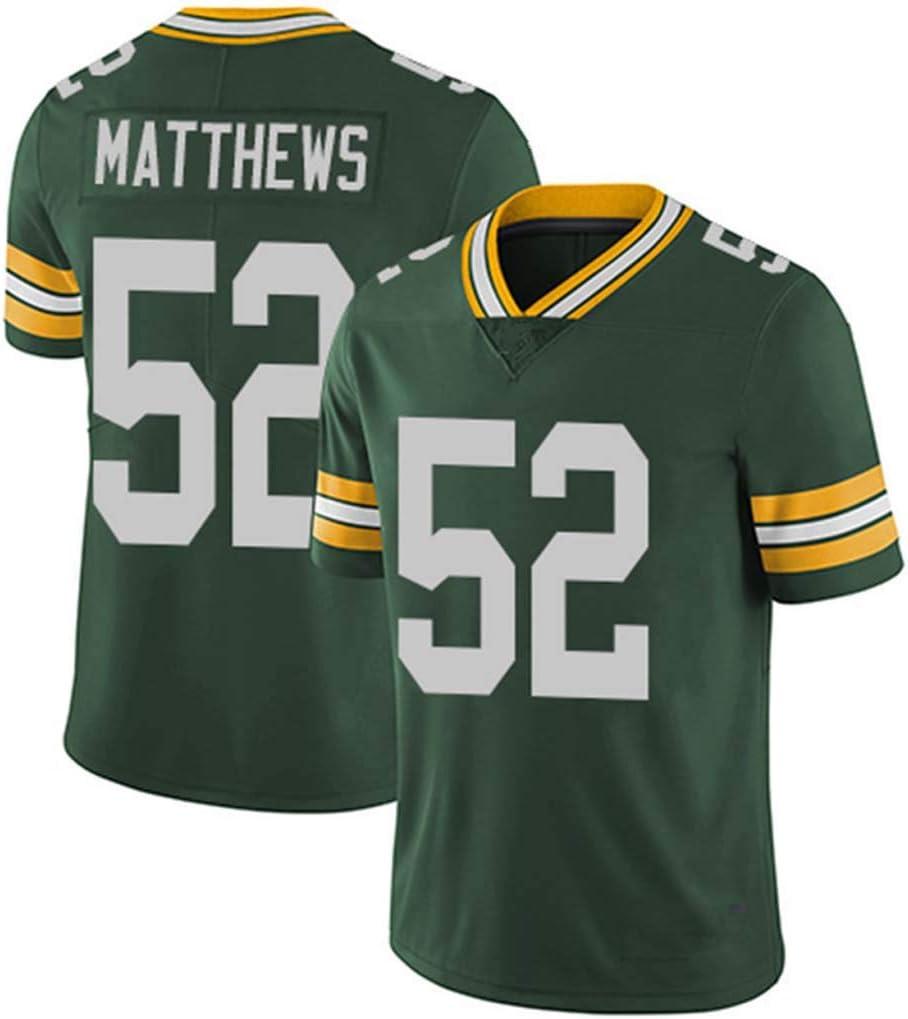 Packers # 12 Rodgers 52 21 87 Nelson 80 Camiseta Deportiva de f/útbol de Manga Corta Camiseta Deportiva Superior Hombres NFL Rugby Jersey
