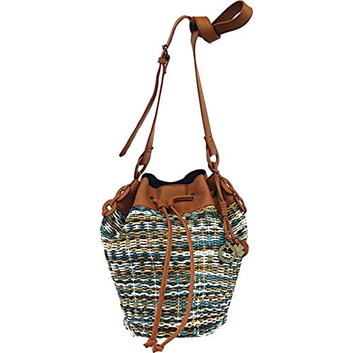 Lucky Brand Kenya Woven Straw Drawstring Bucket Bag (Blue)