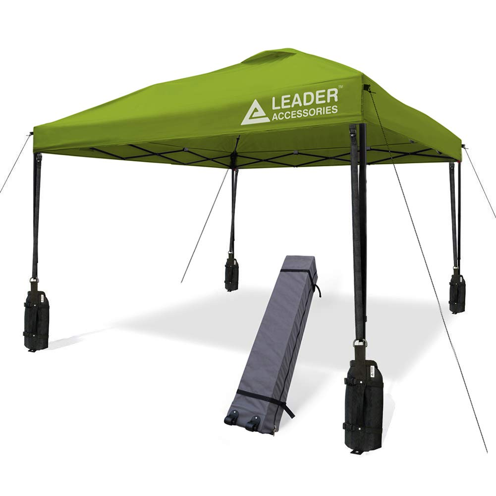 Leader Accessories 10' x 10' Instant Canopy with 4-Pack Canopy Weights & One Wheeled Carry Bag (Green)