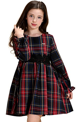 Aurora AuroraBaby Girls Plaid Dresses Casual Long Sleeve Thick Cotton Dress For School Purple Size 6X School Plaid Dress