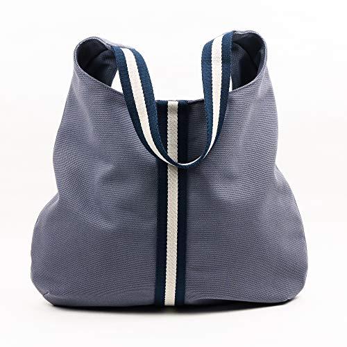 Bolso de loneta de algodón color azul tejano, asas a rayas marino ...