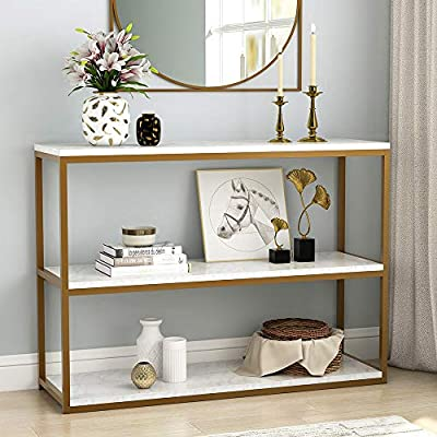 Tribesigns 3-Tier Console Table, Gold Sofa Entry Table with Faux Marble Top and Gold Metal Frame for Home - Contemporary console table with nordic style makes a perfect addition to your home. Gold metal contrasts with beige white faux marble( MDF board), creating a simple and elegant look. It truly flexes to suit any space and occasion. ( Compared with the objects, the picture has a slight slight chromatic aberration because of different computer monitors.) 【Multi-purpose】 It can be used as a space-saving console table in your entryway, as a sofa table to decorate the living room or as a TV stand in the family room under your wall mounted TV. 【Space-saving】Feature with 3-tier shelves for storage and display, It saves space and makes your home tidy . - living-room-furniture, living-room, console-tables - 51B3T7rmx L. SS400  -