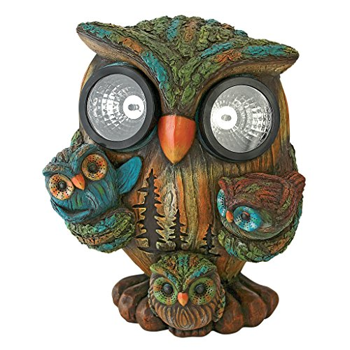 Design Toscano Bright Eyes Solar Owl Family Garden (Owls Family Design)