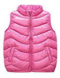 IKALI Boys & Girls Ultra Light Down Packable Vest, Sleeveless Outerwear Compact Windproof Vest Jacket with Collar and Pockets (3-4Y, Pink)