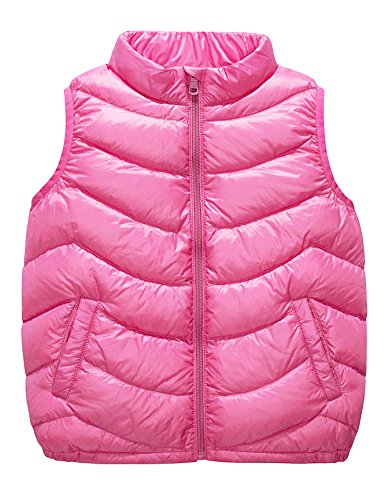 Boys & Girls Ultra Light Down Packable Vest, Sleeveless Outerwear Compact Windproof Vest Jacket with Collar and Pockets (2-3T, Pink)