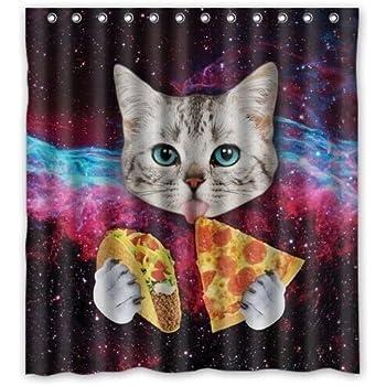 Amazon.com: Cat Shower Curtain, Waterproof Polyester Fabric Bathroom ...