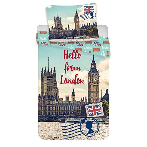 Jerry Fabrics Hello from London Single Cotton Duvet Cover Set (Themed London Covers Duvet)