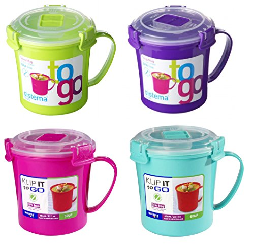 4 x Sistema Microwave Soup To Go Mugs VARIOUS COLOURS by Online Kitchenware