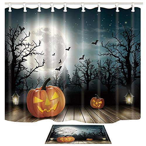 (ChuaMi Halloween Shower Curtain Set, Pumpkin Lights, Bats and Moons Over The Ghost Woods, Waterproof Bathroom Decor Design Polyester Fabric 69 x 70 Inches with Hooks and Anti-Slip 40 x)