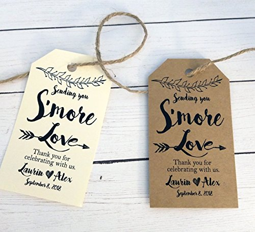 Smore Love Tag, Sending you Smore Love Favor Tags - Boho Style 36 Tags - size is 2 x 3.5 inches