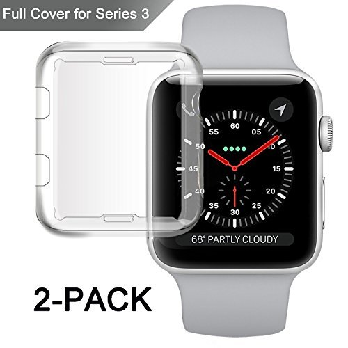 Misxi Apple Watch Series 3 Case, iwatch 3 Screen Protector TPU All-Around 0.3mm Ultra-Thin Cover for New Apple Watch Series 3 42mm (2 Pack)