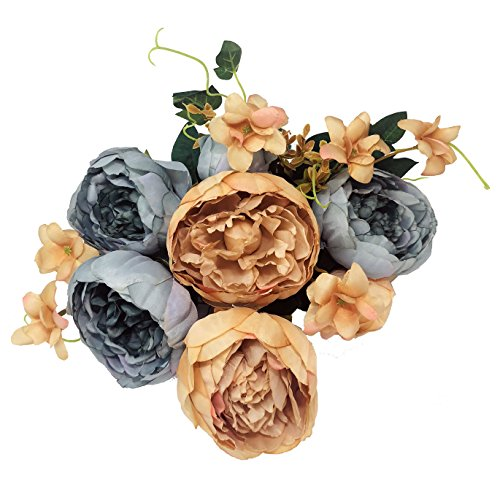 - Mcupper Artificial Flowers Vintage Fake Silk Peony Flowers Wedding Bush Bouquet Flower Arrangement for Home Decor Party Floral Wreath Centerpieces Decoration and DIY (Spring Blue)