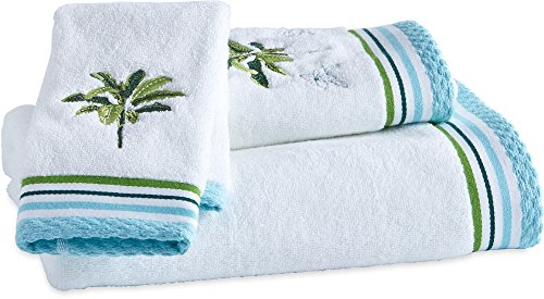 CHF Destinations Tropical Palm Towel Collection Bath Towel White/blue