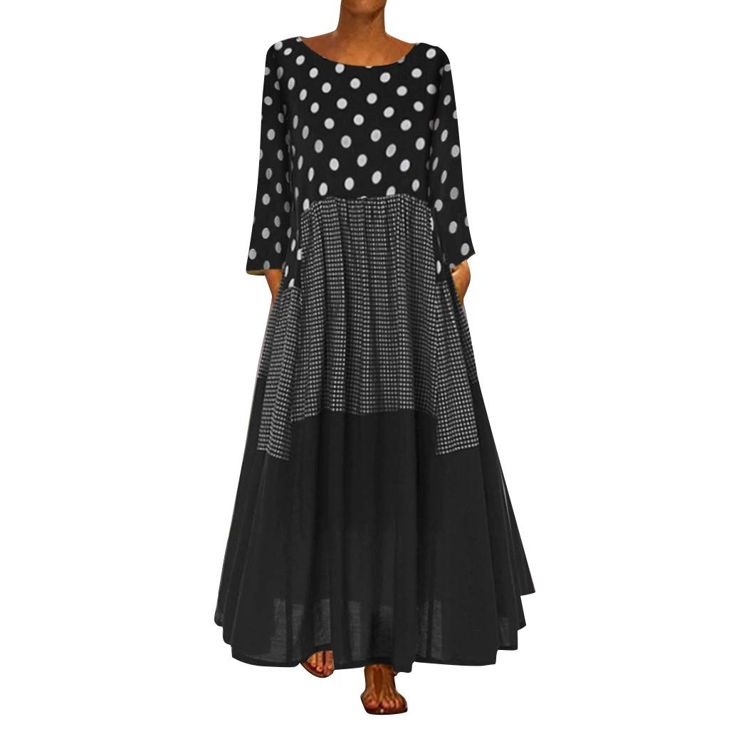 Jieou Women Plus Size 3/4 Sleeve Polka Dot Maxi Dresses Casual Loose Bohemian Beach Swing Dress with Pockets (Black, XXXL) by Jieou
