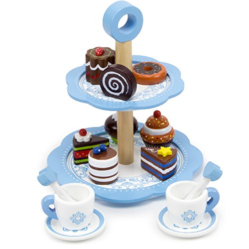 Tea Time Chocolate Pastry Tower with Two-Tier Classic Blue Dessert Tower, 8 Unique Pastries, and 2 Tea Cups, Saucers and Stirrers by Imagination ()
