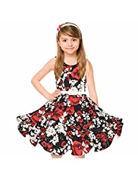 Girl's Classy Audrey 1950s Vintage Rockabilly Swing Party Dress With Belt by HBB