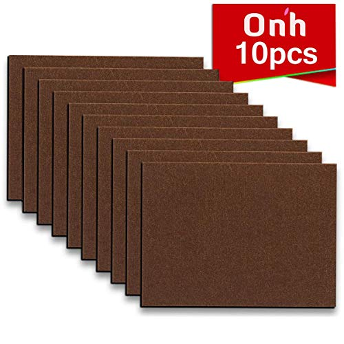 "Furniture Pads - 10 Pack ON'H Self-Stick Felt Furniture Pads with 3M Tapes Hardwood Floors Protectors – 8"" x 6"" x 1/5"" Sheet Cut into Any Shape – Coffee"