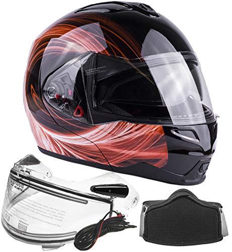 Typhoon Dual Visor Modular Full Face Snowmobile Helmet With Heated Shield, Breath Box (Orange, XL) ()