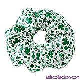 Saint Patricks Day Love Clover White and Green Scrunchie Hair Tie, St Patricks Day Scrunchie Hair Tie, St. Patricks Day Green Scrunchy, St Pattys Day