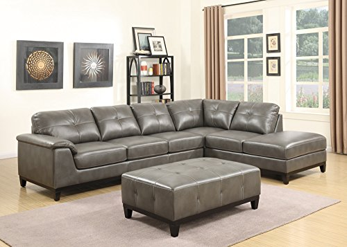 Emerald Home Marquis Gray Sectional with Faux Leather Upholstery, Padded Arms, And Contrast Stitching