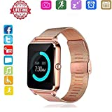 Smart Watch for Andorid,HongTu Stainless Steel Wristwatch Fitness Watch with Camera/SIM Card Slot Call SMS Remind Sleep Monitor Pedometer Support SIM TF Card for iOS and Android