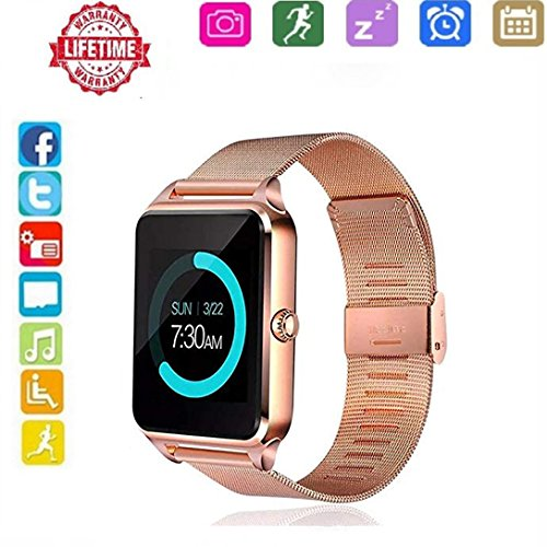 Smart Watch for Andorid,HongTu Stainless Steel Wristwatch Fitness Watch with Camera/SIM Card Slot Call SMS Remind Sleep Monitor Pedometer Support SIM TF Card for iOS and Android by HongTu
