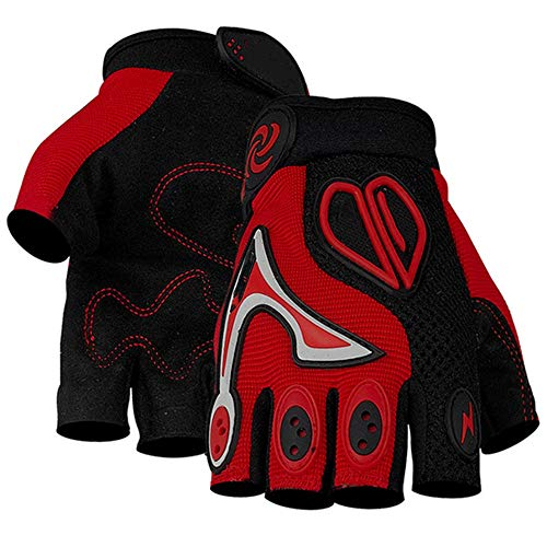 Bicycle Half Finger Cycling Gloves Men Women Bike Racing Gloves Motorcycle Motocross Off-Road Gloves (Color : Red-L)