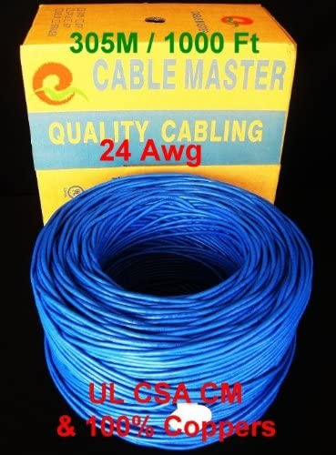 Blue 24AWG 4 Pair Unshielded Twisted Pair UTP Cat5e Bulk Blue Solid Bare Copper Ethernet Cable UL CSA Listed 350 MHz SuperEcable 1000ft