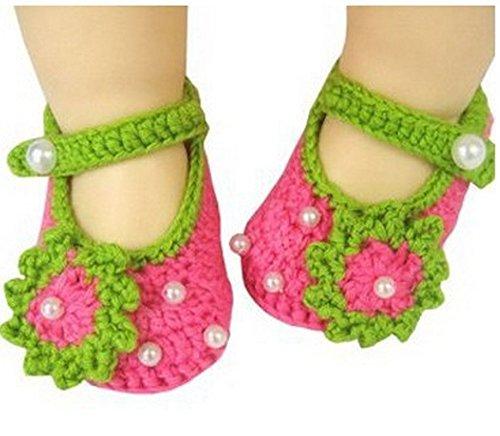Tfrdertuuigf nouveau-né Fleurs Perle Crochet Knit Sandales pour enfant Chaussures
