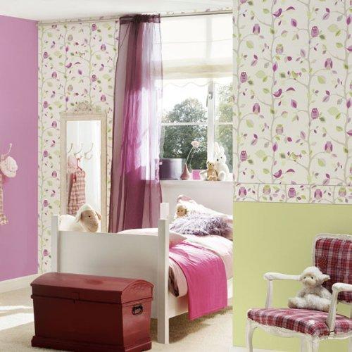 amazon.de: eulen auf ein zweig kinder / kinderzimmer tapete rosa ... - Kinderzimmer Grun Lila
