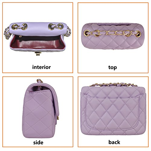 Girls Shoulder Handbags with Chain Rock Women Volcanic Side Designer and Bag Clutch 919 purple Purse Quilted Crossbody 1FvXq