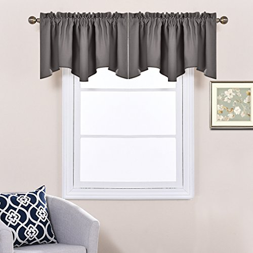 Bedroom Window Valance Blackout Tier - Home Decoration 52-inch by 18-inch Scalloped Valance Tier by NICETOWN (Grey, 1 Panel) (Bedroom Valances Window)