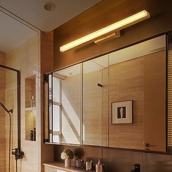 Espejo de baño,Japanese-Style lámparas LED de pared de madera maciza escalera Registro Scandinavian-Style Pasillo dormitorio cama luces delante del espejo ...