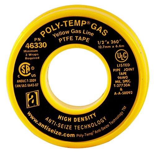ANTI-SEIZE TECHNOLOGY 46330 Yellow PTFE Poly-Temp Extra Heavy Duty Gas Line Tape, 260