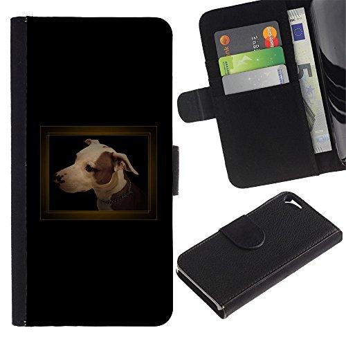 LASTONE PHONE CASE / Lujo Billetera de Cuero Caso del tirón Titular de la tarjeta Flip Carcasa Funda para Apple Iphone 5 / 5S / Small Black Dachshund Puppy Dog