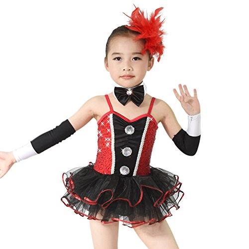 Contemporary Ballet Costumes (MiDee Ballet Tutu Costume Dance Dress For Little Girls Sequin Sweetheart (LC, Black/Red))