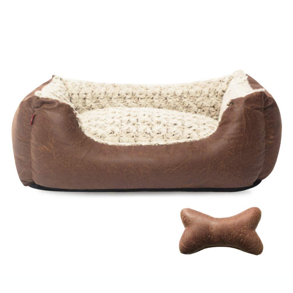 B M B M Yuan Yuan Pet house Pet bed large dog pad detachable nest pet four seasons pink velvet hot stamping vintage texture  @ (color   B, Size   M)