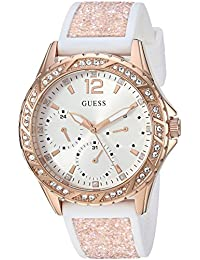 Womens Stainless Steel Crystal Silicone Watch, Color: White/Rose Gold-Tone (