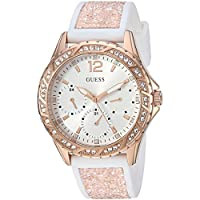 GUESS Women's Stainless Steel Crystal Silicone Watch, Color: White/Rose Gold-Tone (Model: U1096L2)
